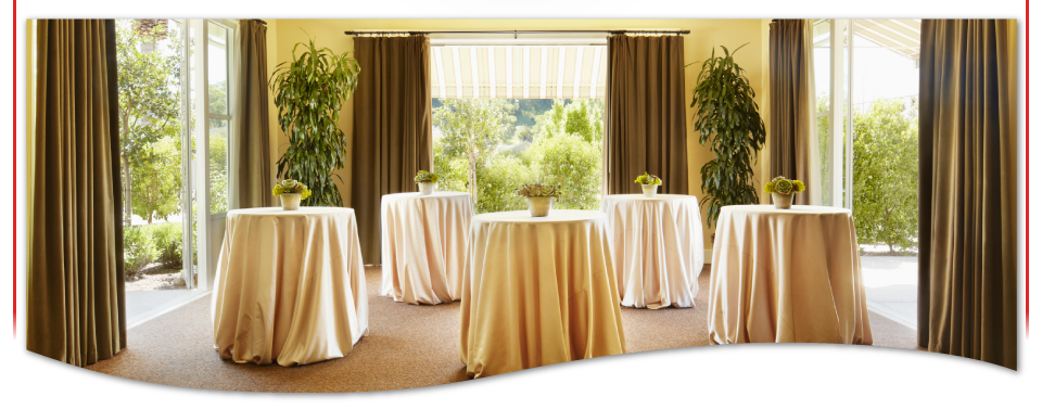 Tables draped in table cloths